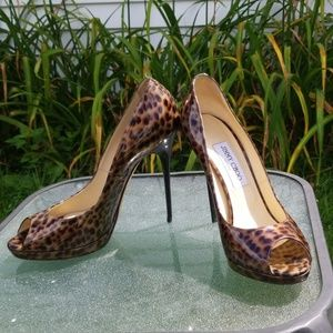 Jimmy Choo cheetah print heel size 39 1/2 open toe